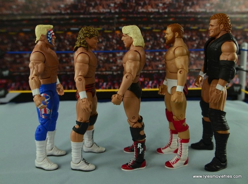 WWE Elite Flyin Brian figure review -scale with Sting, Ric Flair, Arn Anderson and Sid Vicious