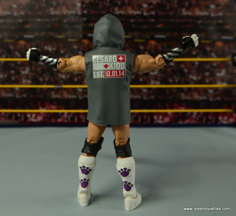 WWE Elite Tyson Kidd figure review -rear with hoodie up