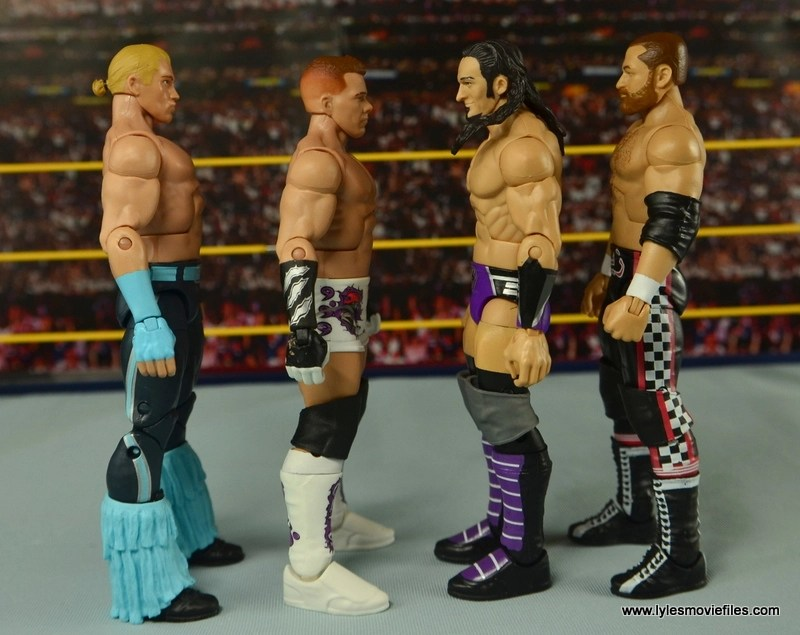 WWE Elite Tyson Kidd figure review -scale with Tyler Breeze, Neville and Sami Zayn