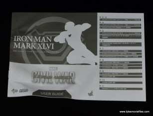 Hot Toys Captain America Civil War Iron Man figure review - instructions cover