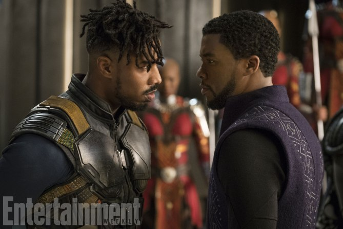 Marvel-Black-Panther-movie-pictures-Erik-Killmonger-and-TChalla