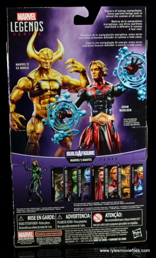 Marvel Legends Adam Warlock figure review - package rear