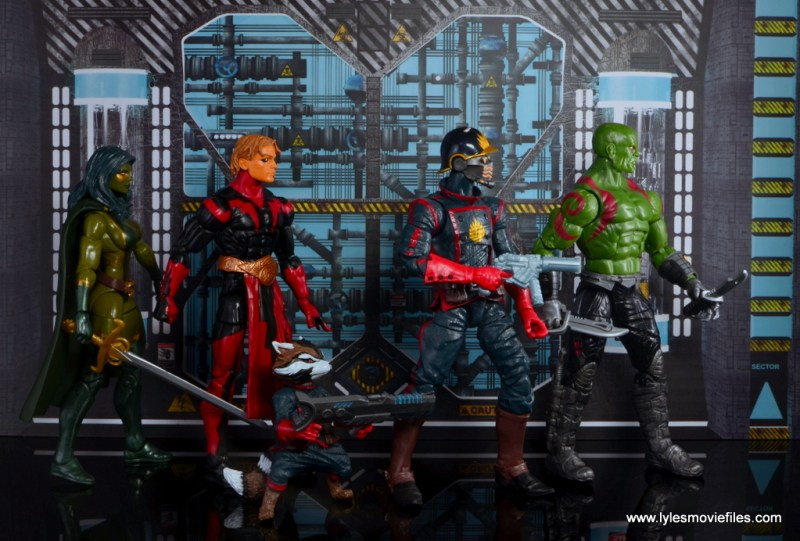Marvel Legends Adam Warlock figure review - walking with Gamora, Rocket, Star-Lord and Draz