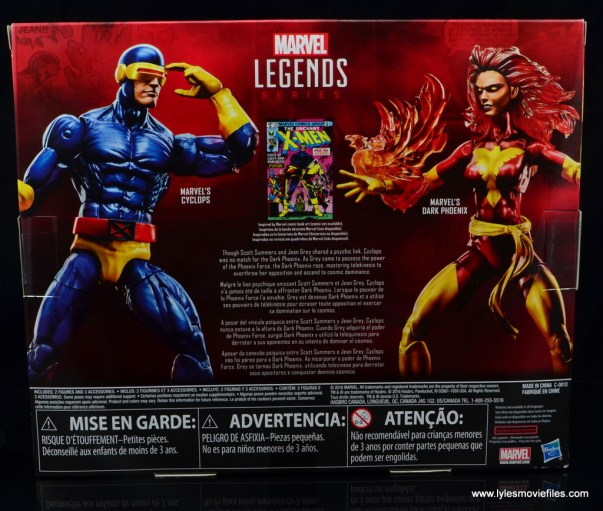 Marvel Legends Cyclops and Dark Phoenix figure review -package rear