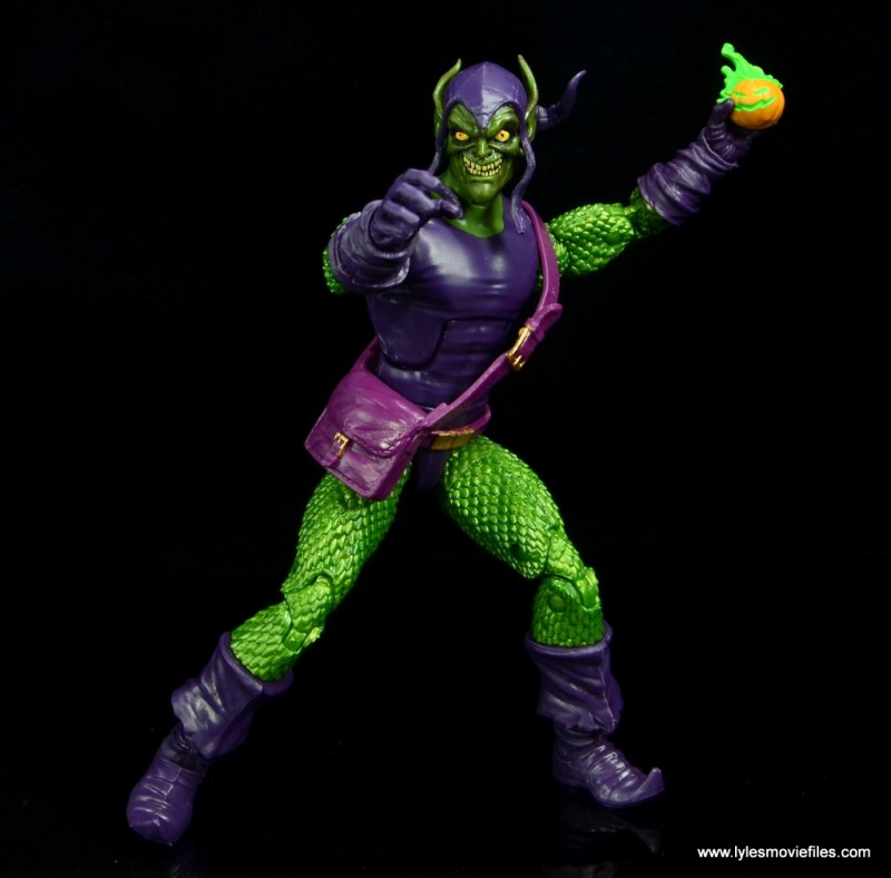 Marvel Legends Green Goblin figure review -aiming pumpkin bomb