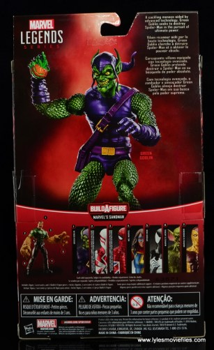 Marvel Legends Green Goblin figure review -package rear