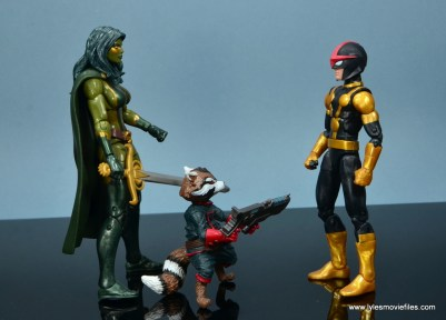 Marvel Legends Kid Nova figure review -scale with Gamora and Rocket Raccoon