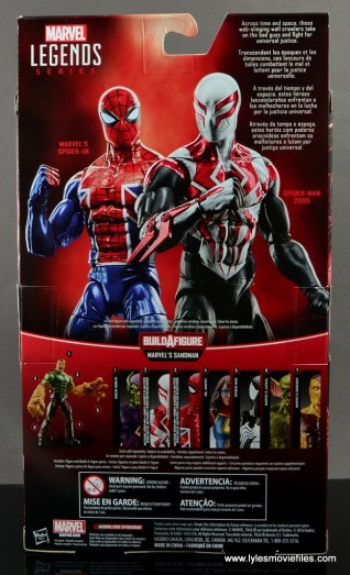 Marvel Legends Spider-Man 2099 figure review - package rear