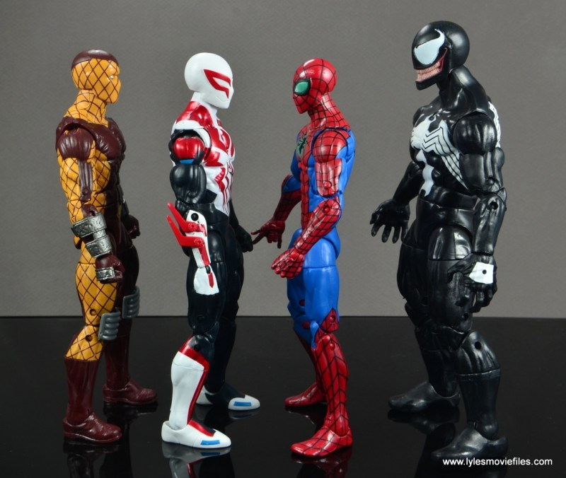 Marvel Legends Spider-Man 2099 figure review - scale with Shocker, Spider-Man and Venom
