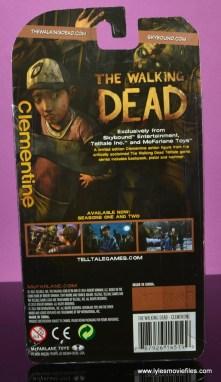 The Walking Dead Telltale Games Clementine figure review -package rear
