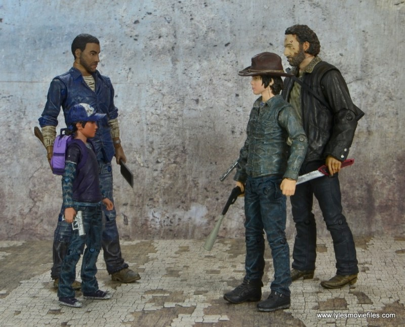 The Walking Dead Telltale Games Clementine figure review -with Lee, Carl and Rick Grimes