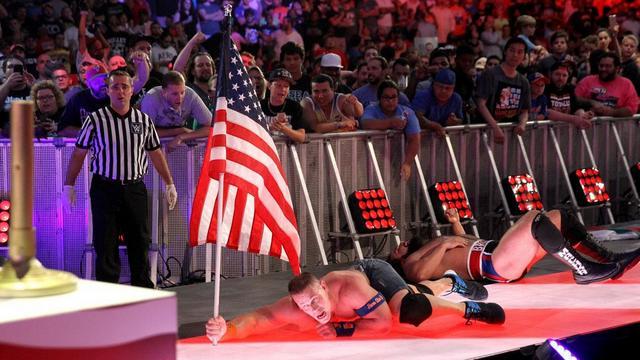 WWE Battleground 2017 Cena vs Rusev raising the flag