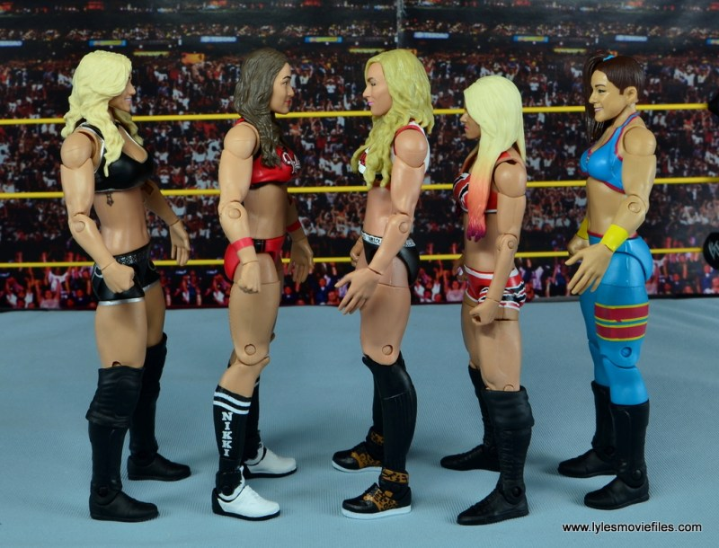 WWE Carmella figure review - scale with Charlotte, Nikki Bella, Alexa Bliss and Bayley