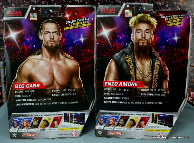 WWE Elite Big Cass and Enzo figure review -package rear