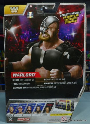 WWE The Warlord figure review -package rear