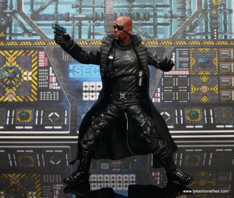 Marvel Legends Avengers Initative figure review -Nick Fury aiming