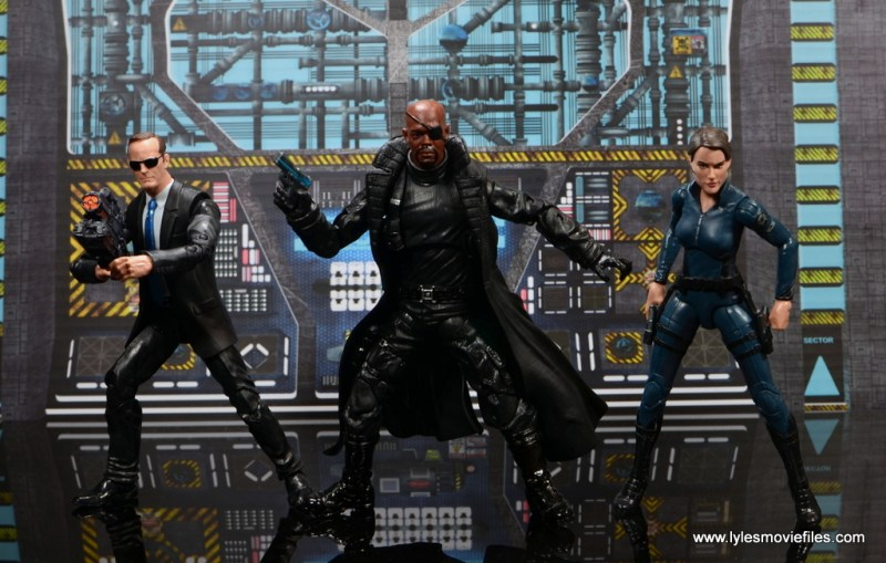 Marvel Legends Avengers Initative figure review -wide shot with Coulson, Fury and Hill