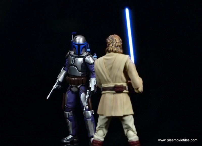 SH Figuarts Jango Fett figure review -ready to battle Obi Wan Kenobi lightsaber up