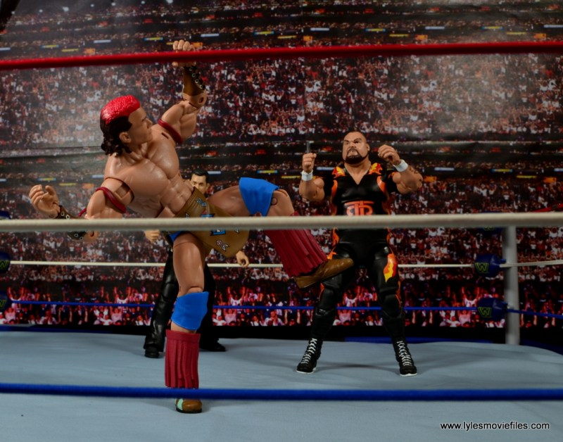 WWE Elite Tatanka figure review - war dance as Bam Bam Bigelow looks on