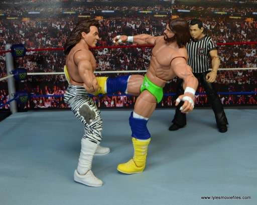WWE Elite Brutus The Barber Beefcake figure review -catching Randy Savage's foot