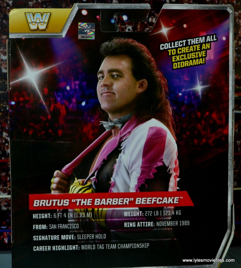 WWE Elite Brutus The Barber Beefcake figure review -package bio