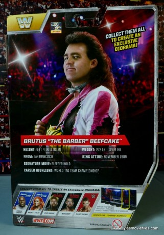 WWE Elite Brutus The Barber Beefcake figure review -package rear