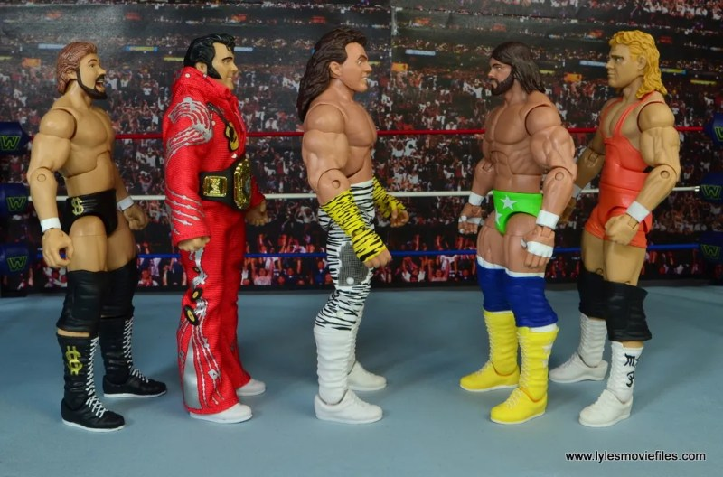 WWE Elite Brutus The Barber Beefcake figure review - scale with Ted DiBiase, Honky Tonk Man, Macho Man and Mr. Perfect