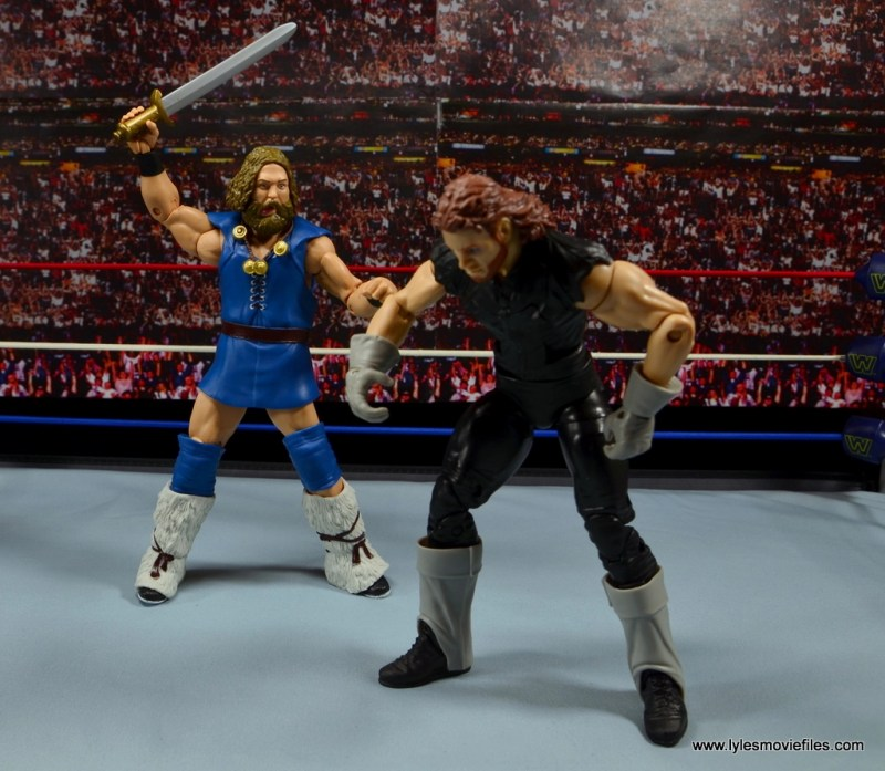 WWE The Berzerker figure review -about to strike The Undertaker