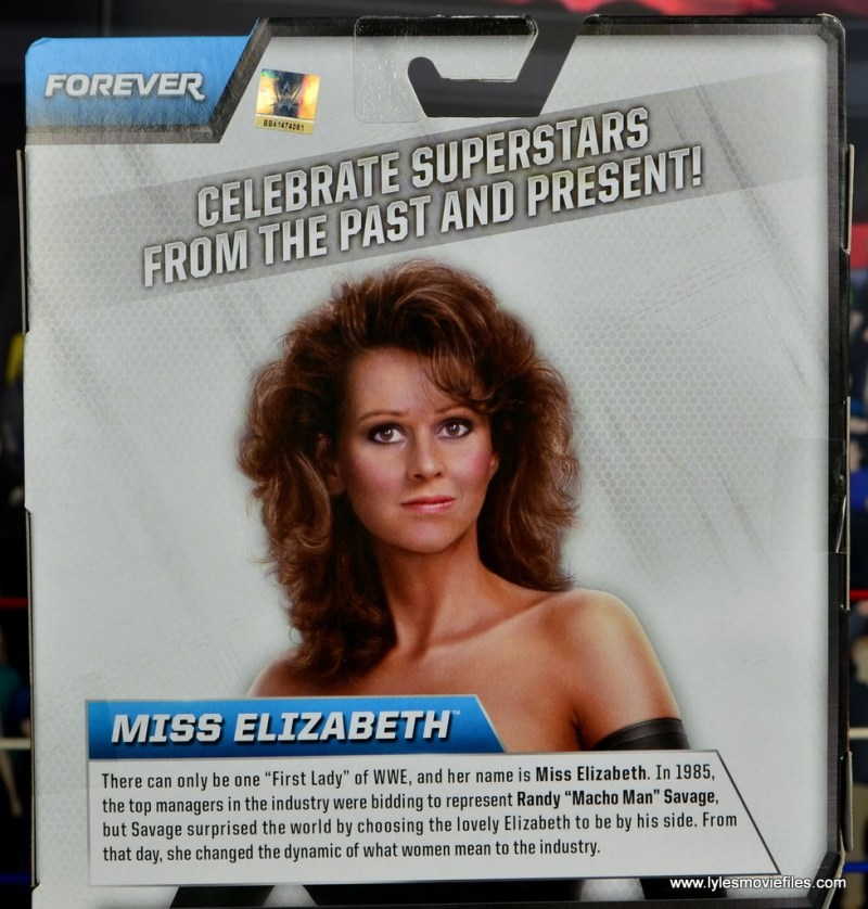 WWE Then Now Forever Miss Elizabeth figure review -package bio