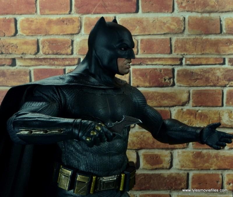 Hot Toys Batman v Superman Batman figure review -holding one Batarang