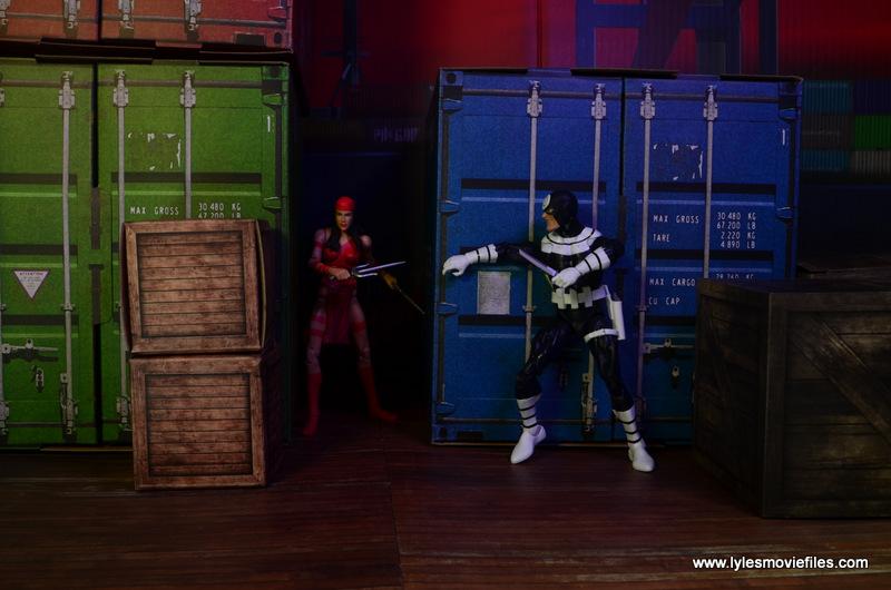 Marvel Legends Bullseye figure review - stalking Elektra