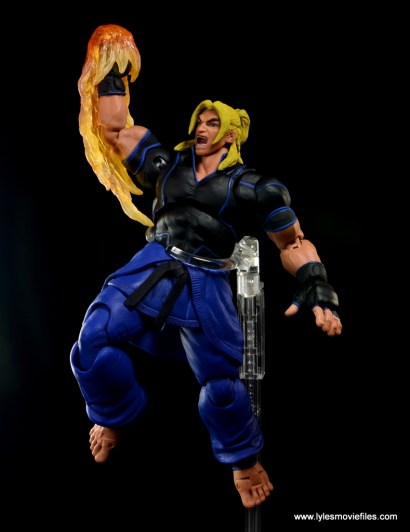 Storm Collectibles Street Fighter V Ken figure review - flaming dragon punch left side