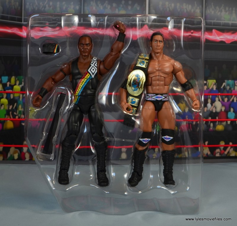 WWE Elite Farooq and The Rock Nation of Domination figure review set - accessories in tray