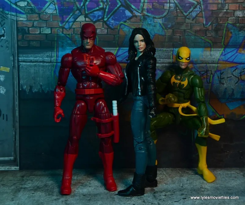 Marvel Legends Jessica Jones figure review - Defenders shot with Daredevil and Iron Fist