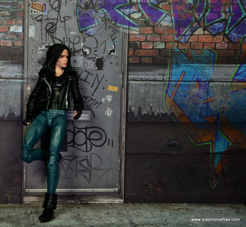 Marvel Legends Jessica Jones figure review - leaning on wall