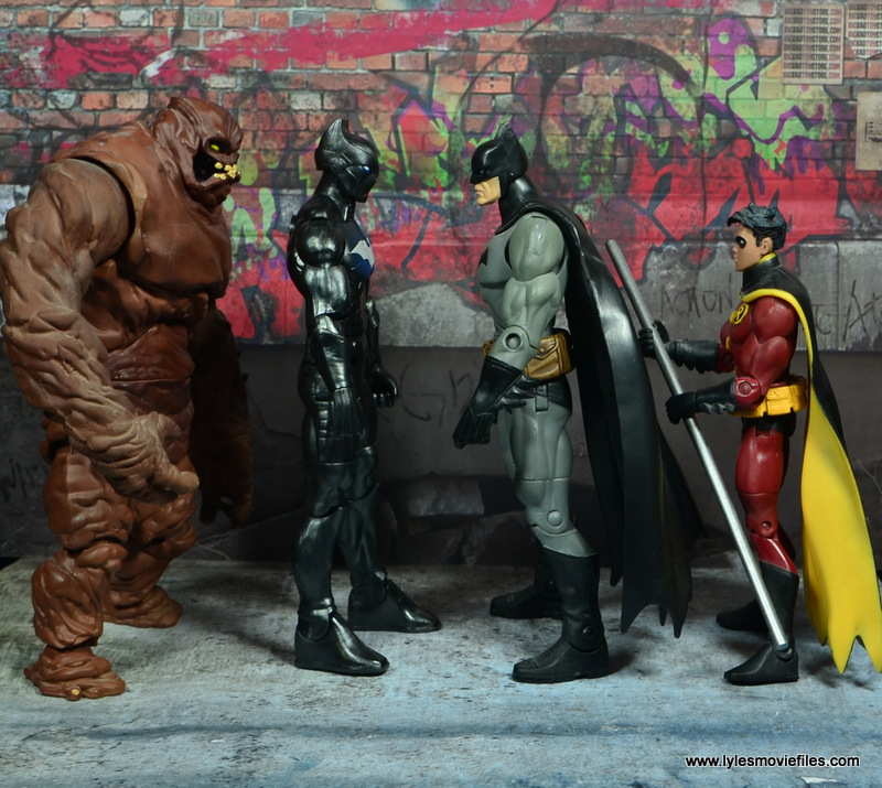 DC Multiverse Batwing figure review - scale with Clayface, Batman and Robin