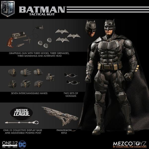 Mezco One12 Collective Justice League Movie Tactical Suit Batman figure collage
