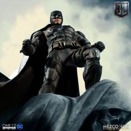 Mezco One12 Collective Justice League Movie Tactical Suit Batman figure on statue