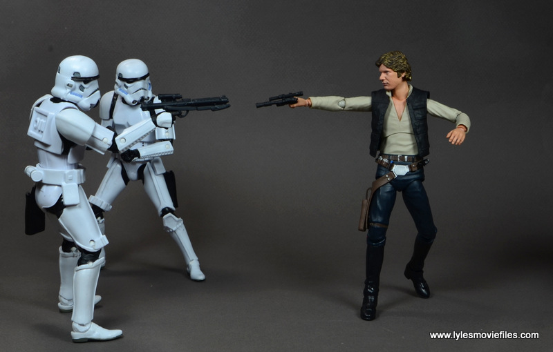 SH Figuarts Han Solo figure review - firing at Stormtroopers