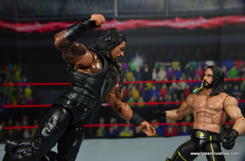 WWE Elite 45 Roman Reigns figure review - Superman punch to Seth Rollins