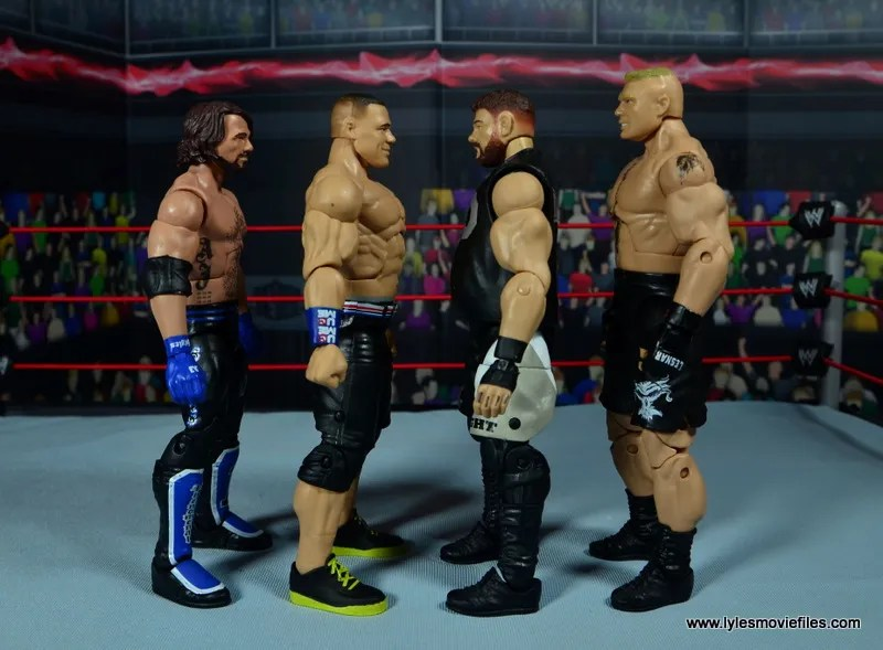 WWE Elite 50 John Cena figure review -scale with AJ Styles, Kevin Owens and Brock Lesnar
