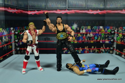WWE Elite Hall of Fame Diesel figure review -standing tall with HBK over 123 Kid