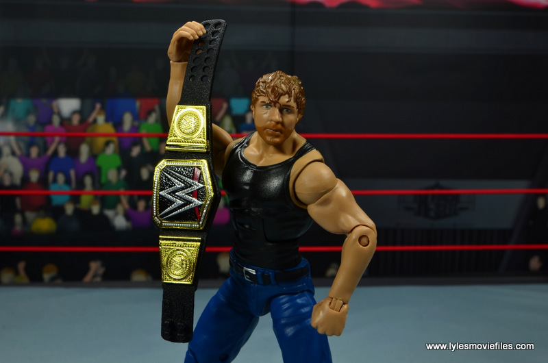 wwe network spotlight dean ambrose figure review -holding world title up