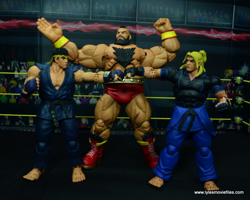 Storm Collectibles Street Fighter V Zangief figure review -posing with Ken and Ryu