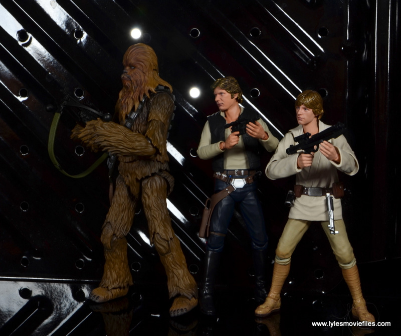 bandai sh figuarts chewbacca figure review - at bay door with han solo and luke skywalker