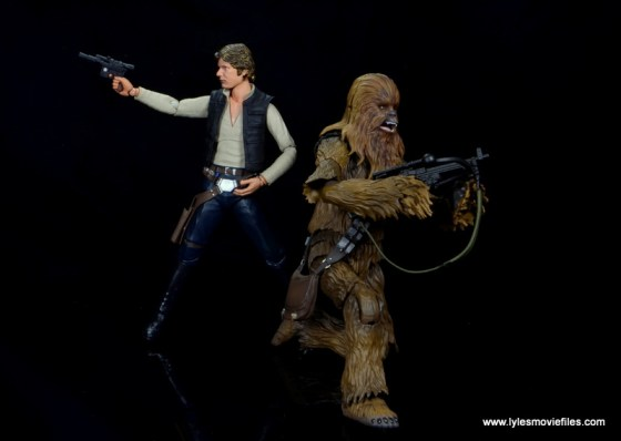 bandai sh figuarts chewbacca figure review -kneeling with han solo