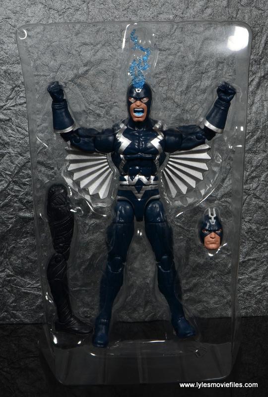marvel legends black bolt figure review -in tray