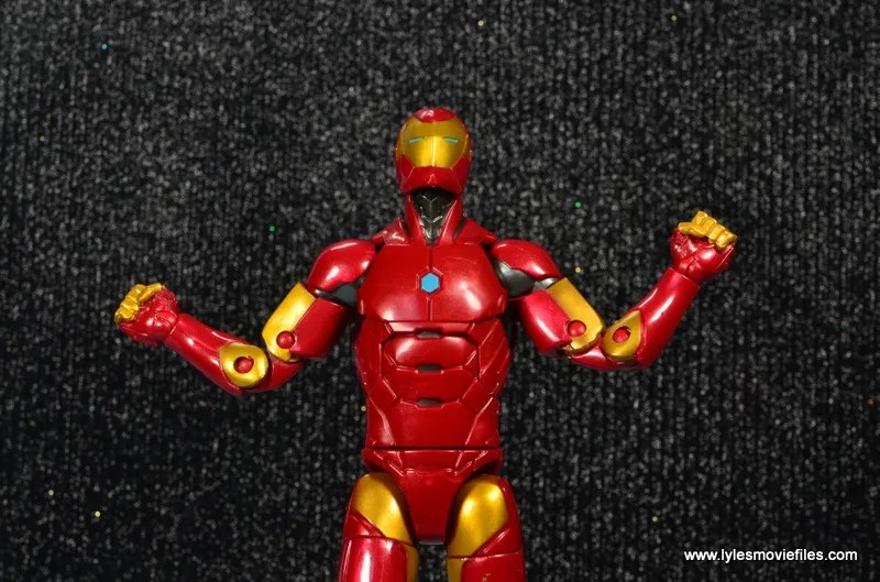 marvel legends invincible iron man figure review -arms up
