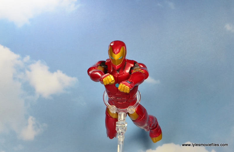 marvel legends invincible iron man figure review -flying in the clouds
