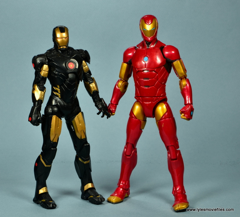 marvel legends invincible iron man figure review -scale with black and gold armor
